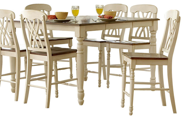 Homelegance Ohana 6 Piece Counter Height Dining Room Set In White  Traditional Dining