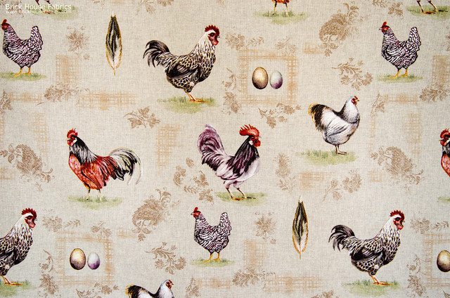 Chicken Rooster Fabric Gold Tan Plaid Paisley French