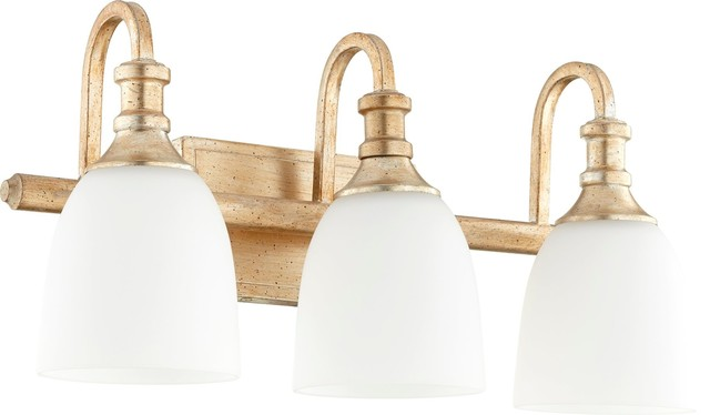Quorum Bathroom Lighting quorum richmond 3-light vanity, aged brass - transitional