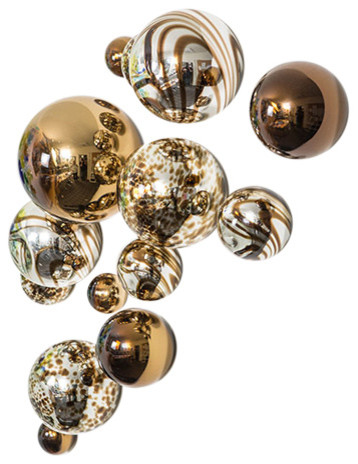 Wall Spheres, Chocolate Plated, Set Of 13.