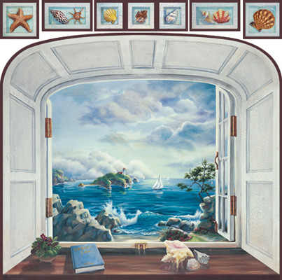Coastal view trompe l 39 oeil window mural beach style for Beach window mural