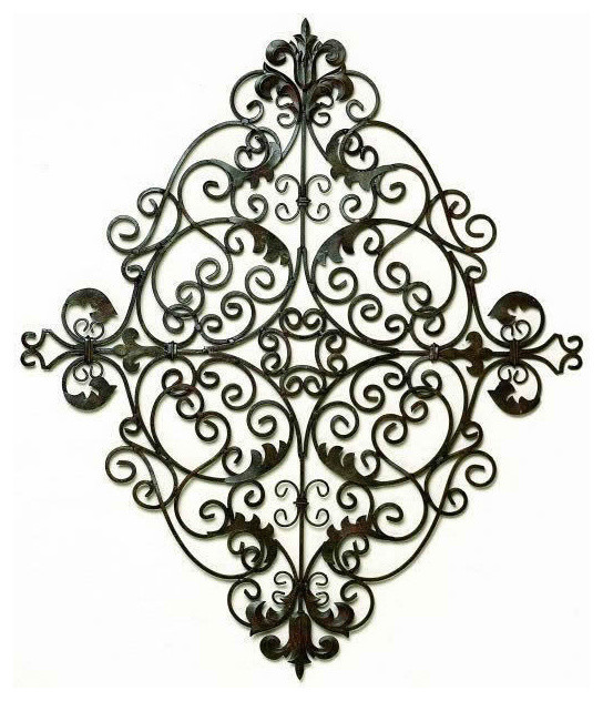 Oversized Tuscan Scrolling Iron Metal Wall Grille Plaque