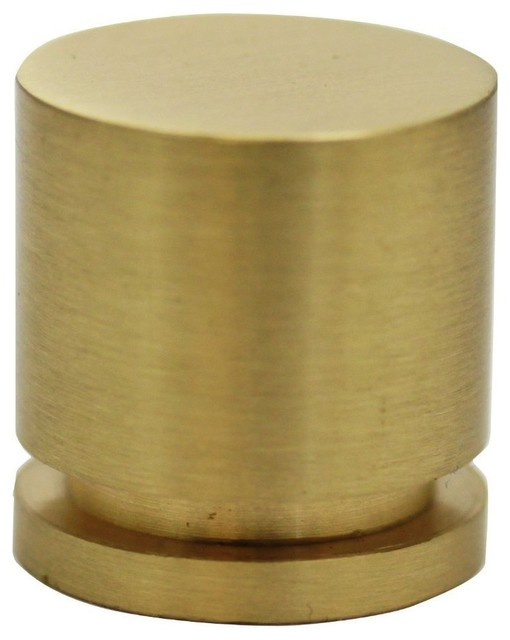 "Hamilton Bowes, 1"" Round Cabinet Knob, 380-SB, Modern Gold/Brushed Brass/Natural - Contemporary ..."