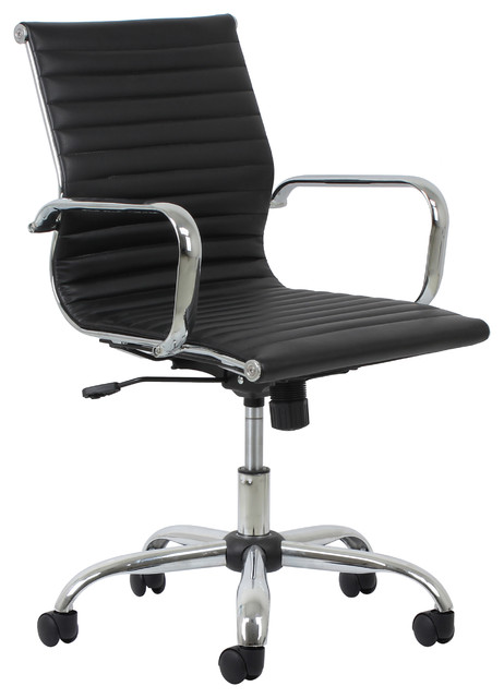 Essentials By Ofm Swivel Ribbed Leather Chair With Arms