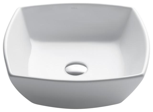 Elavo Ceramic Square Vessel White Sink