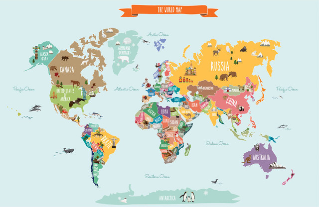 Simple Shapes Countries Of The World Map Peel And Stick Poster - Small world map poster