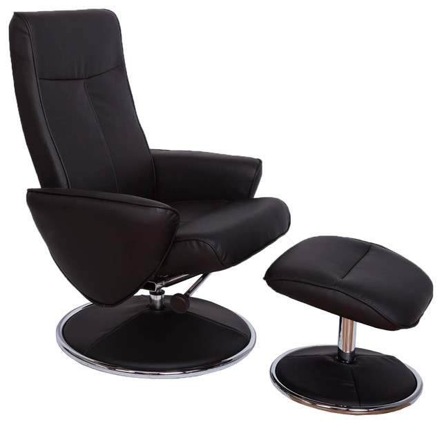 Black Leather Air Contemporary Tv Chair And Ottoman Coated Chrome Base Armchairs Accent Chairs By Vogue Furniture Inc