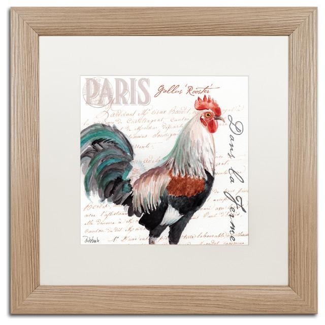 Dans la Ferme Rooster III\' Art, , Birch Frame, White Mat - Farmhouse ...