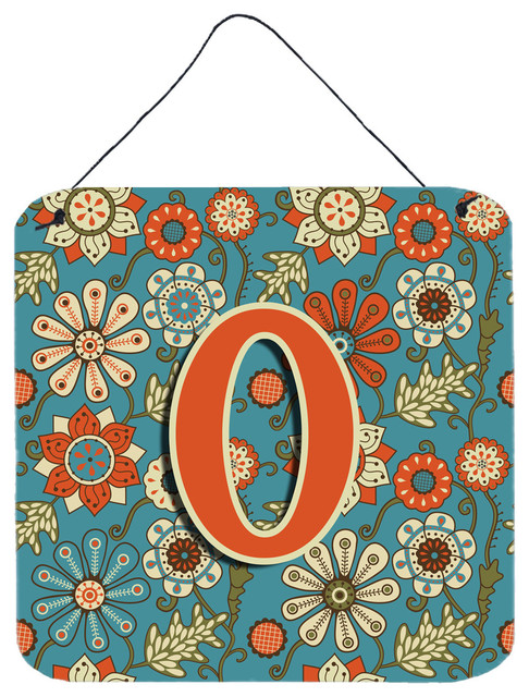 letter and arts letter o flowers retro blue wall door hanging prints 5554