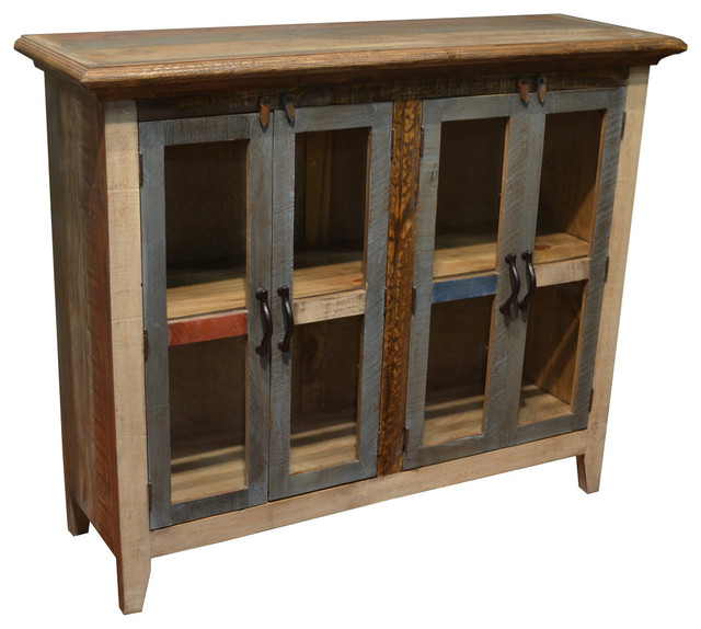 Bayshore 4-Door Curio Cabinet - Beach Style - China Cabinets And Hutches - by Crafters and Weavers