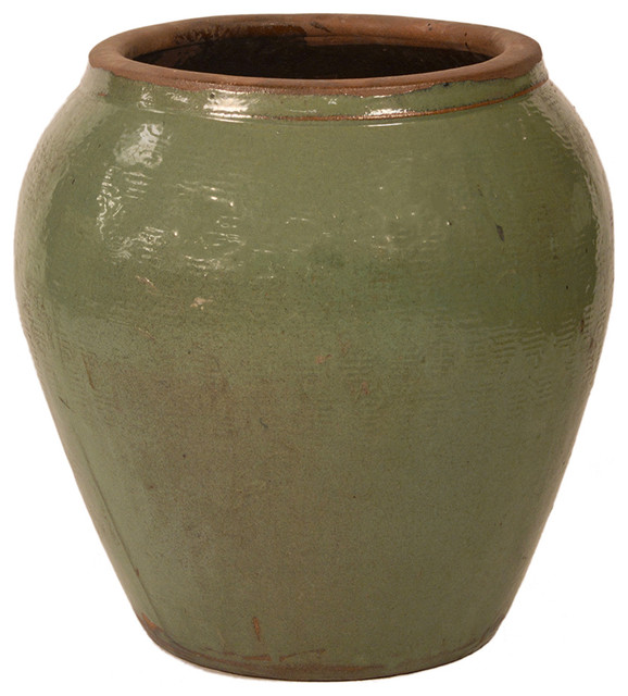 green ceramic planter transitional outdoor pots and