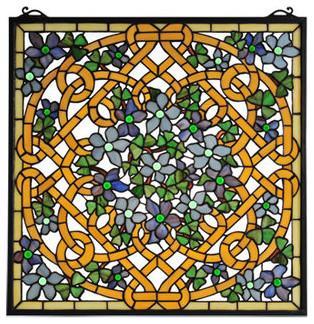 Meyda Tiffany 99027 Shamrock Garden Square Stained Gl Window Pane