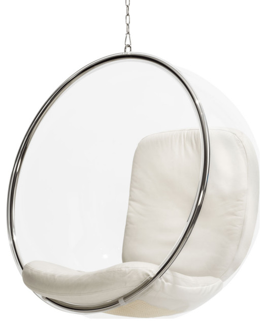 Aarnio original Hanging Bubble Chair, Ivory Leather Cushion