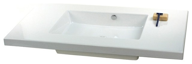 Sleek Rectangular Wall Mounted Or Built In Ceramic Sink No Faucet Hole