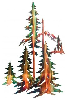 Rustic Pine Tree Forest Metal Wall Art 30 Quot Rustic