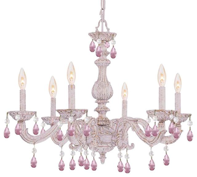 Crystorama Paris Market 6-Light Rose Crystal White Chandelier