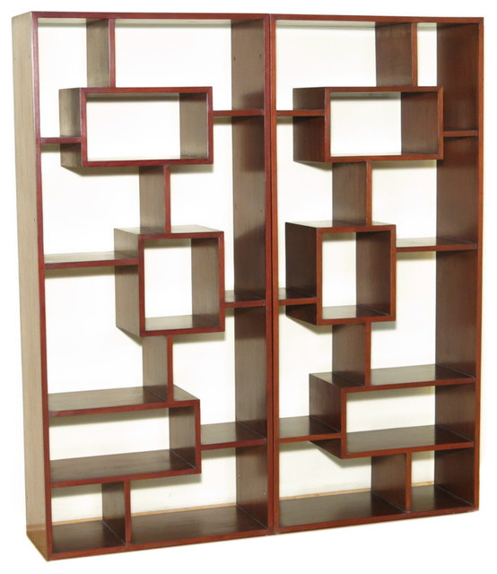 Solid Mahogany Double Cherry Art Deco Sectional Wall Open Bookcase