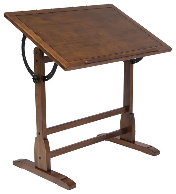 "Offex Vintage Home Office Drafting Table, 36"" Rustic Oak."