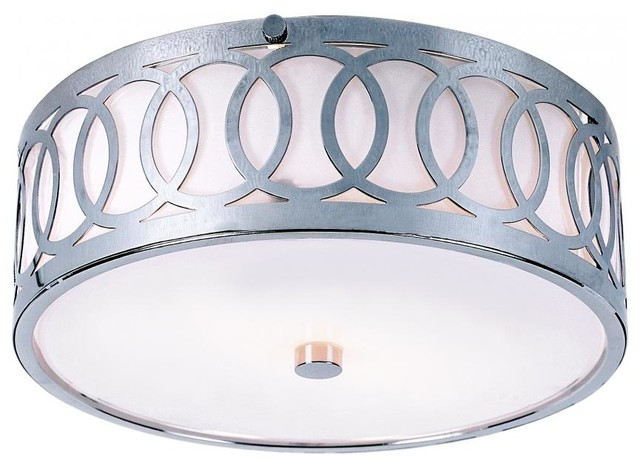 Three Light Polished Chrome Opal Glass Drum Shade Flush Mount.