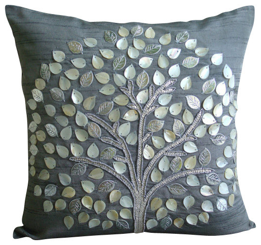 Mother Of Pearls Tree 20x20 Art Silk Gray Throw Pillow Covers, Silver Hope Tree.