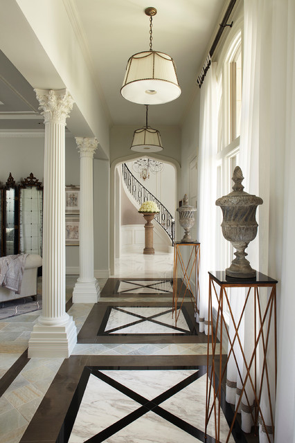Old Palm Traditional French Chateau mediterranean-hall