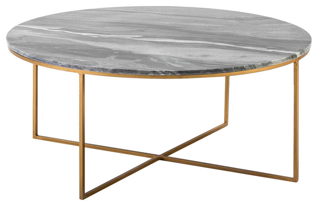 Round Black Marble Coffee Table With Gold Frame