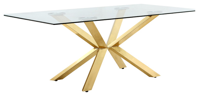 Capri Dining Table Gold Contemporary Dining Tables