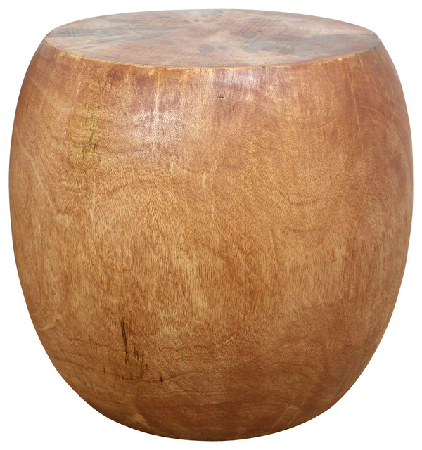 Pouf Mango Wood, Livos Light Teak Oil Finish tropical-side-tables-and