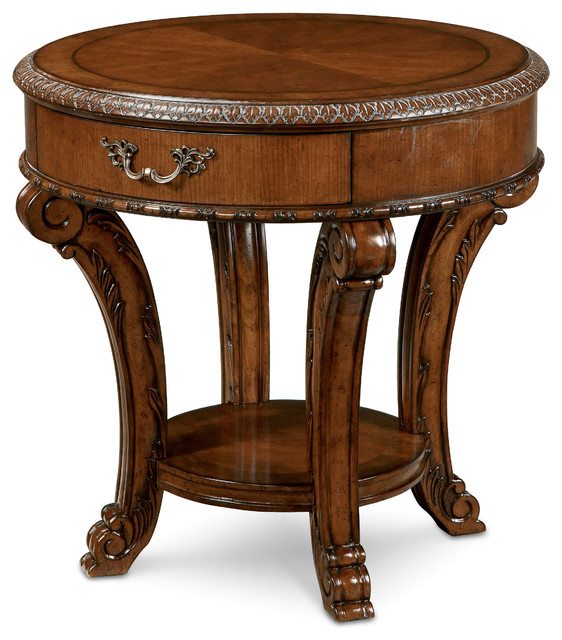 Old World Round End Table Victorian Side Tables And End Tables - Round end table with doors