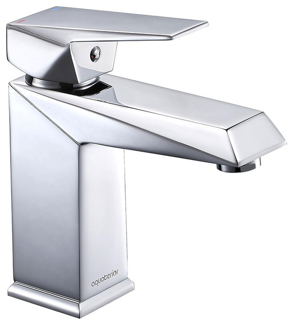 Aquaterior 1 Hole Bathroom Sink Square Faucet 1 Lever Cold Hot Water Contemporary Bathroom Sink Faucets By Yescom