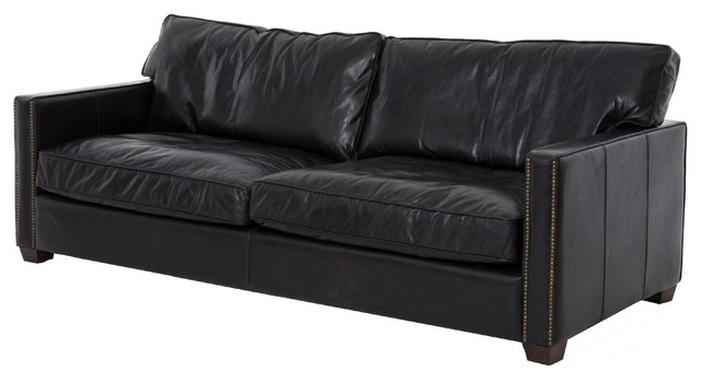 Pleasing Darla Vintage Black Distressed Leather Sofa Caraccident5 Cool Chair Designs And Ideas Caraccident5Info