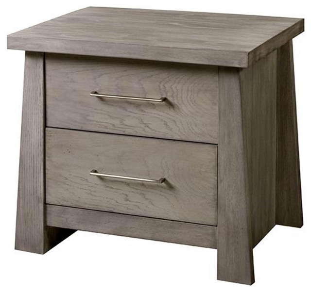 Zen Two Drawer Nightstand, Driftwood Asian Nightstands And Bedside Tables