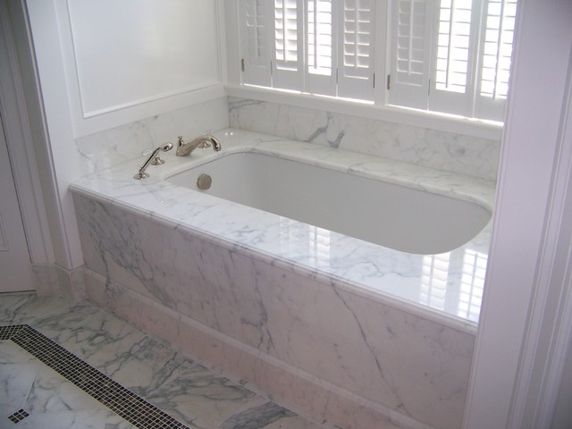 Calacatta Marble 1 Piece Tub Deck amp Skirt