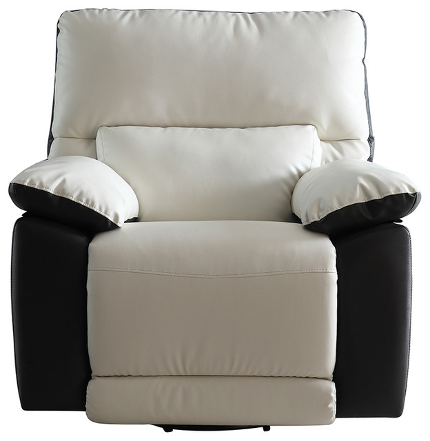 Bon Modern Two Tone Bonded Leather Oversize Recliner Chair