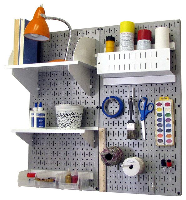 Wall Control - Pegboard Organizer Storage Kit, Gray Pegboard and Black Accessories - View in ...