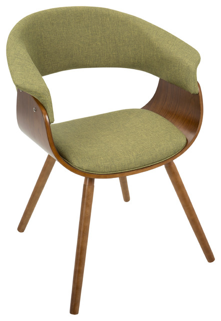 Vintage Mod Mid Century Modern Chair, Walnut And Green