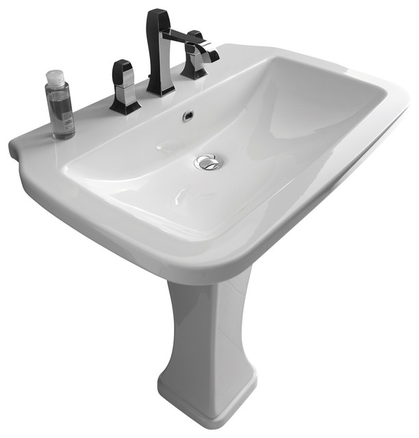Large White Sink : Pedestal Sink in Ceramic White 29.5