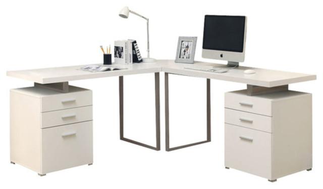 Computer Desk, White L Shaped Corner Desk.