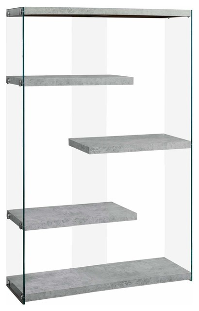 "Bookcase, 60""h, Gray Cement With Tempered Glass."