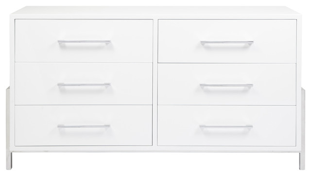 Worlds Away White Lacquer 6-Drawer Chest Bennett Whn.