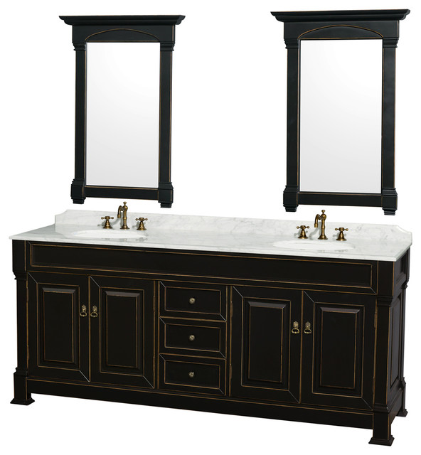 Wyndham Collection 80 Andover Black Double Round Sink Vanity And 24 Mirrors.