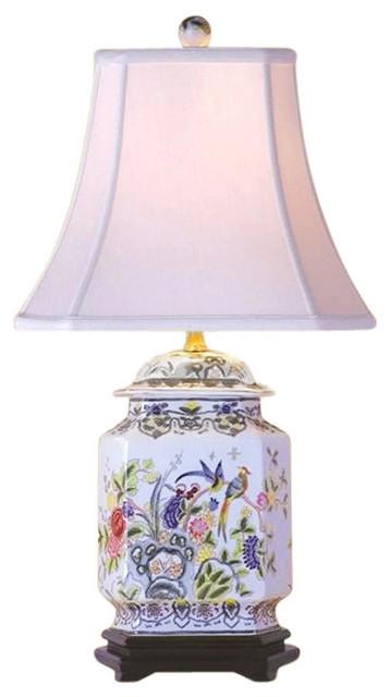 "Chinese Porcelain Famille Bird Motif Hexagonal Ginger Jar Table Lamp 25"""