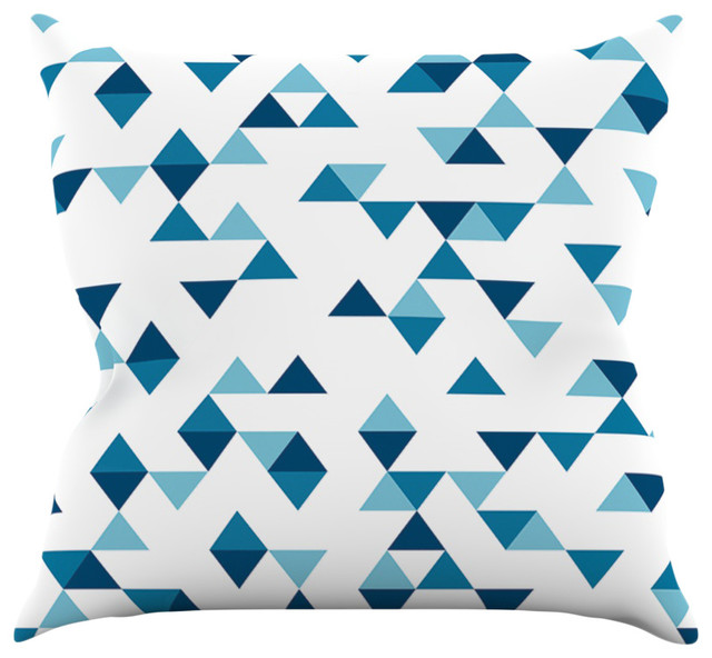geo triangles throw pillow white and navy 16x16 contemporary decorative - Blue Decorative Pillows