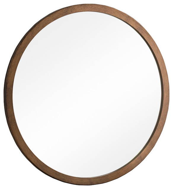 Contemporary Circular Wall Mirror, Bronze Finish, 40 cm