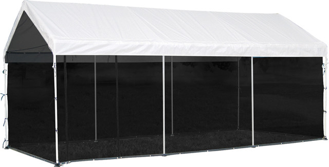 Shelterlogic Outdoor Travel 2-In-1 Canopy 10&x27;x20&x27; And Screen Kit, White.
