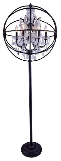 Elegant 1130fl24db/rc Geneva Floor Lamp In Dark Bronze.