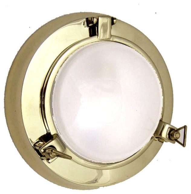 Nautical Porthole Sconce (Solid Brass/ Interior Use ...