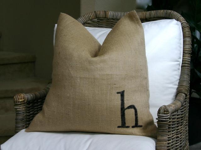 Burlap pillows - Eclectic - Orange County - by greige/Fluegge Interior Design, Inc.