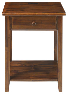 Casual Home Night Owl Nightstand With 4 USB Ports Warm Brown