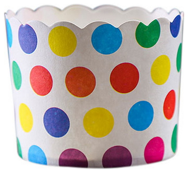 50 Medium Lovely Creative Cake Cups, Multicolor Wave Points